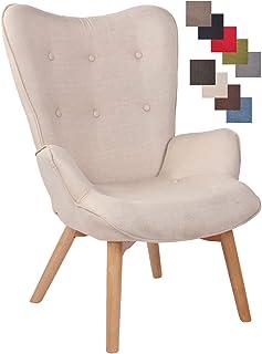 Chaise Lounge Durham en Tissu I Chaise Fauteuil pour Salon Ou Salle A Manger I Piètement en Bois I Design Scandinave, Coul...