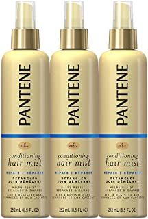 Pantene Conditioning Mist Detangler, Nutrient Boost, Pro-V Repair and Protect for Damaged Hair, 8.5 oz, 3 count