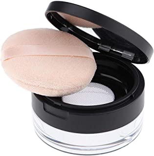 AKOAK Capacity 20 ml(0.67 oz) Empty Reusable Plastic Loose Powder Compact Container DIY Makeup Powder Case with Sponge Powder Puff,Mirror and Elasticated Net Sifter