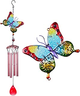 "Butterfly Wind Chimes Outdoor/Indoor Decor, Pure Hand-Made Mobile Wind Catcher 31""Butterfly Wind-Bell, Colorful Butterfly ..."
