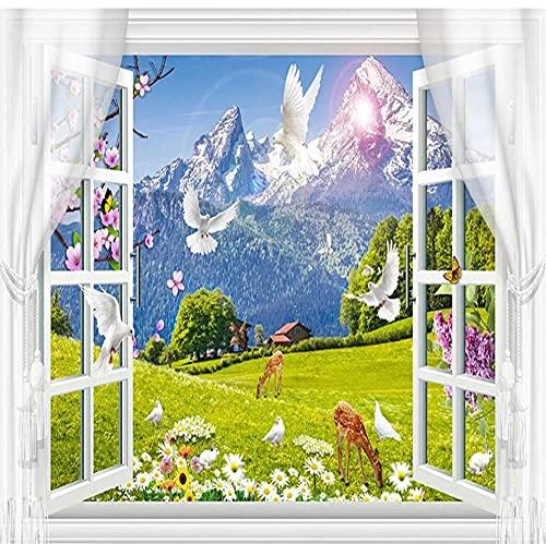Papel pintado autoadhesivo ventana 3D nieve montaña pradera Animal paisaje foto murales de pared sala de estar TV pegatinas impermeables-S