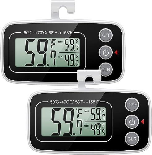 ORIA Thermomètre de Réfrigérateur, 2Pcs Thermomètres de Congélateur Numérique, Thermomètre de Frigo Amélioré avec Gra...