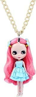 DUOWEI Acrylic Pink Hair Doll Novelty Necklace Pendant Jewelry for Girls Women Kids Teens Charm Gifts