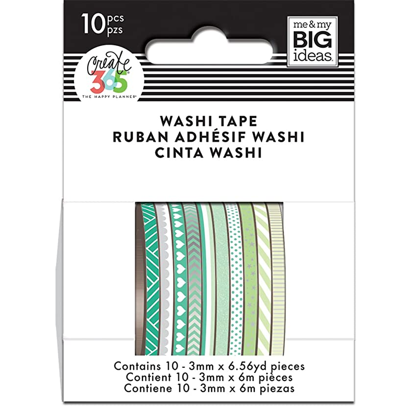 me & my BIG ideas WTSS-04 The The Happy Planner Mini Washi Tape, Green Hues