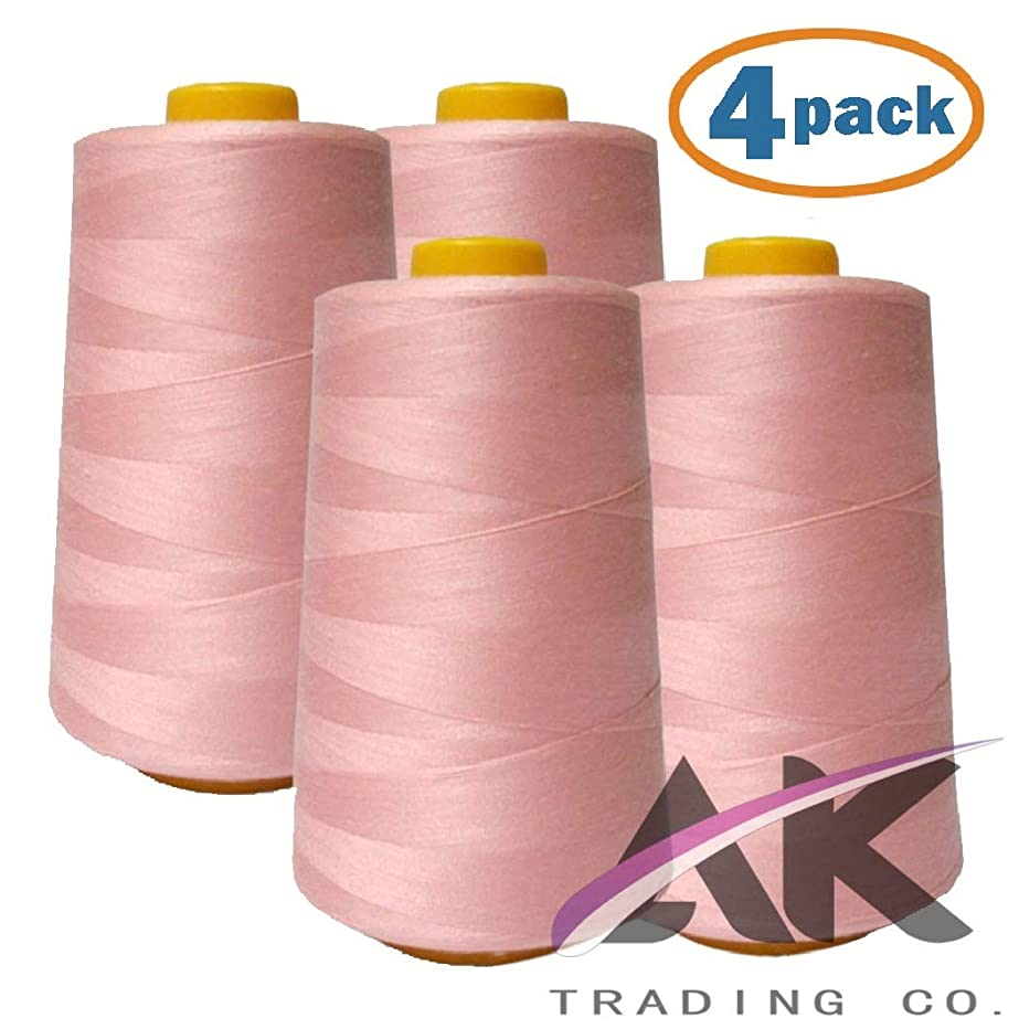 AK Trading 4-Pack Pink All Purpose Sewing Thread Cones (6000 Yards Each) of High Tensile Polyester Thread Spools for Sewing, Quilting, Serger Machines, Overlock, Merrow & Hand Embroidery.