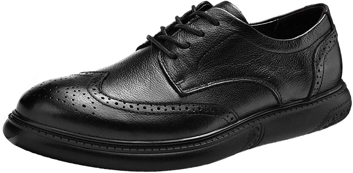 Mens Leather shoes Lace-Up Derby Brogues Round Toe Smart Office Wedding Party Classic Formal Business shoes Gift