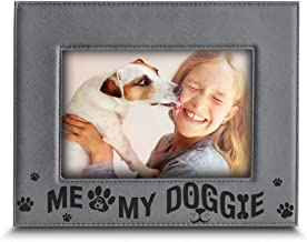 Bella Busta - Me and My Doggie - Dog and Baby Picture Frame- Engraved Leather Picture Frame (5