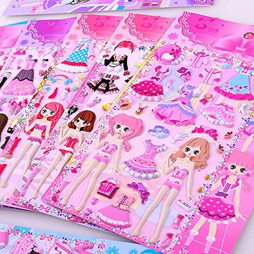 LSPLSP Belleza Princesa Vestir Pegatinas Para Niñas 3D Dressup Pegatina Juguetes Niños Niños Fiesta de Cumpleaños Regalos Clásicos Educativos