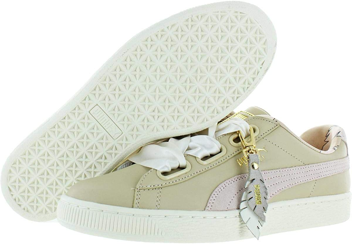 PUMA Womens Basket Heart Leather/Suede Combo Lifestyle Fashion Sneakers