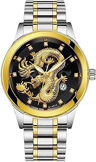 Waterproof Mens Gold Dragon Sculpture Quartz Wristwatch Luxury Men Steel Watch,Outsta Bracelet Watch for Men Boys Gift Present