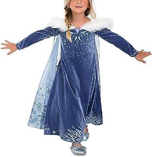 YOSICIL Vestido Elsa con Capa Disfraz de Princesa de
