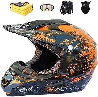 Motorradhelm,Motocross Helm,Helm Kinder,Helmets Kinder-Cross-Helm, Road Helm mit Handschuhe Maske Brille, ATV Helm,MTB Orange,57-58cm