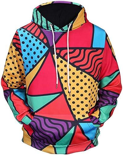 AASSDD Sweat-Shirts 3D à Capuchon avec Impression Géométrique De Couleur VêteHommests De Grande Taille pour Hommes Sweat-Shirts De Sport en Plein Air pour La Randonnée en Mer
