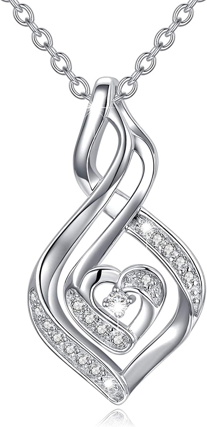 Natural Diamond Infinity Swirl Necklace, Sterling Silver Heart P