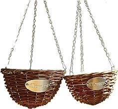 macetas colgantes para plantas, colgante de mimbre cesta macetero de mimbre trenzada flor falsa colgante macetero de plantas para plantas al aire libre, conjunto de 2