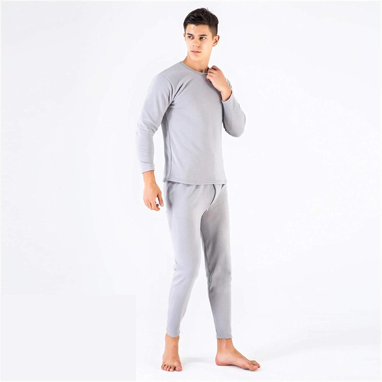 Glqwe Thermal Underwear for Wemen Men Winter Warm Long Johns Women's Thermal Underwear Set Thermo Underwear for Male Female (Color : Male LightGray, Size : Large)
