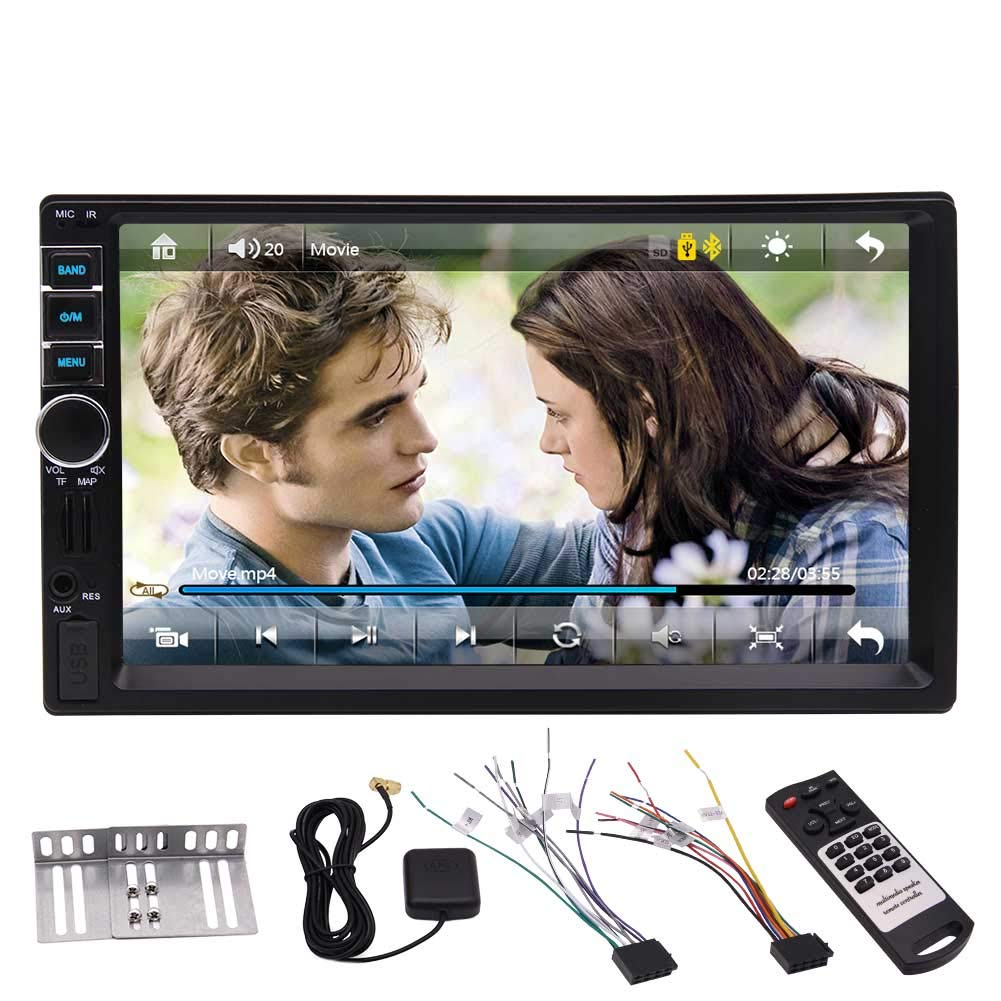 Amazon Com 2 Din Car Radio 7 Inch Touch Screen Car Stereo With Gps Navigation Bluetooth Head Unit Double Din Fm Radio Receiver Mp5 Player Support Screen Mirror Steering Wheeling Control Usb Tf Card