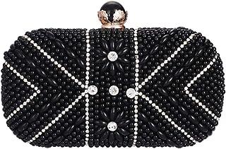 JUNfenghe Women's Luxury Rhinestone Imitation Pearl Square Dinner Bag Gift Wedding Bride Dress Hook Clutch Bag Chain Shoulder Messenger Bag Wallet Size: 21 * 6 * 14cm (Color : Black)