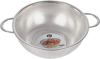 パンチングストレーナー 水切りボウル ざる ステンレスボール 果物 野菜 清掃が簡単 全3サイズ - 25.5x9.5cm