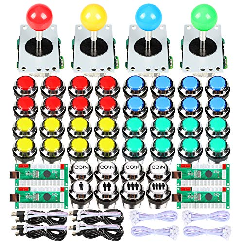 EG STARTS 4 Jugadores Arcade LED DIY Kit USB Zero Delay codificador joystick + LED Chrome Arcade Botones para MAME USB para juegos de PC y Frambuesa Pi retro controladores
