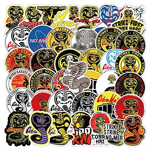 xuyang Juego de 50 pegatinas de gusano mágico en una cadena de dibujos animados gusanos mágicos para monopatín, maleta, portátil, equipaje, guitarra, coche (color 50 piezas Cobra)