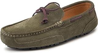 AMIKATO Chaussures de meufeur for Hommes Chaussures de Pont de la Peau de Vachette en Daim Vampire Détails Détails TOPE Ro...