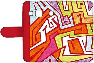 スマQ DIGNO rafre/DIGNO L KYV36 国内生産 カード スマホケース 手帳型 KYOCERA 京セラ ディグノ ラフレ/ディグノ エル 【C.レッド】 カラフル 幾何学模様 ami_vd-0156