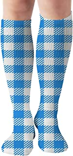 Blue Gingham Compression Socks U.S Olympic Fencer Recommend For Men & Women,19.68 Inch