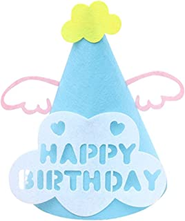 Remeehi Cartoon Birthday Hat Caps Felt Hats Kids Party Favor Gift Birthday Party Supplies Party Hat Halloween Sky Blue