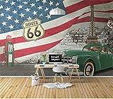 ZJJBH Selbstklebende 3D Tapete Hintergrund Wand (B) 400X (H) 280Cm Retro Amerikanische Autoflagge Wohnzimmer Schlafzimmer Büro Bar Laden Wanddekoration Hintergrund - 3D Kindertapete Wandbild Kunst T