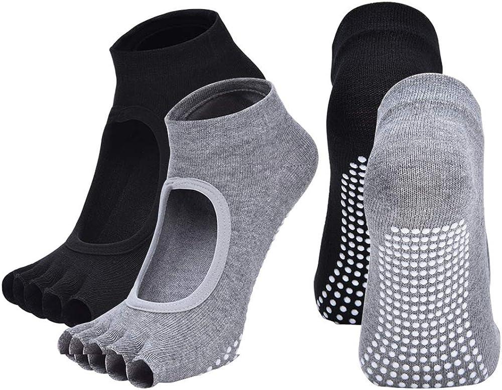2 Pairs Toeless Yoga Socks Non-Slip Grips for Pilates Ballet Dance Barefoot Workout Cotton Open Toe Women Sports Socks