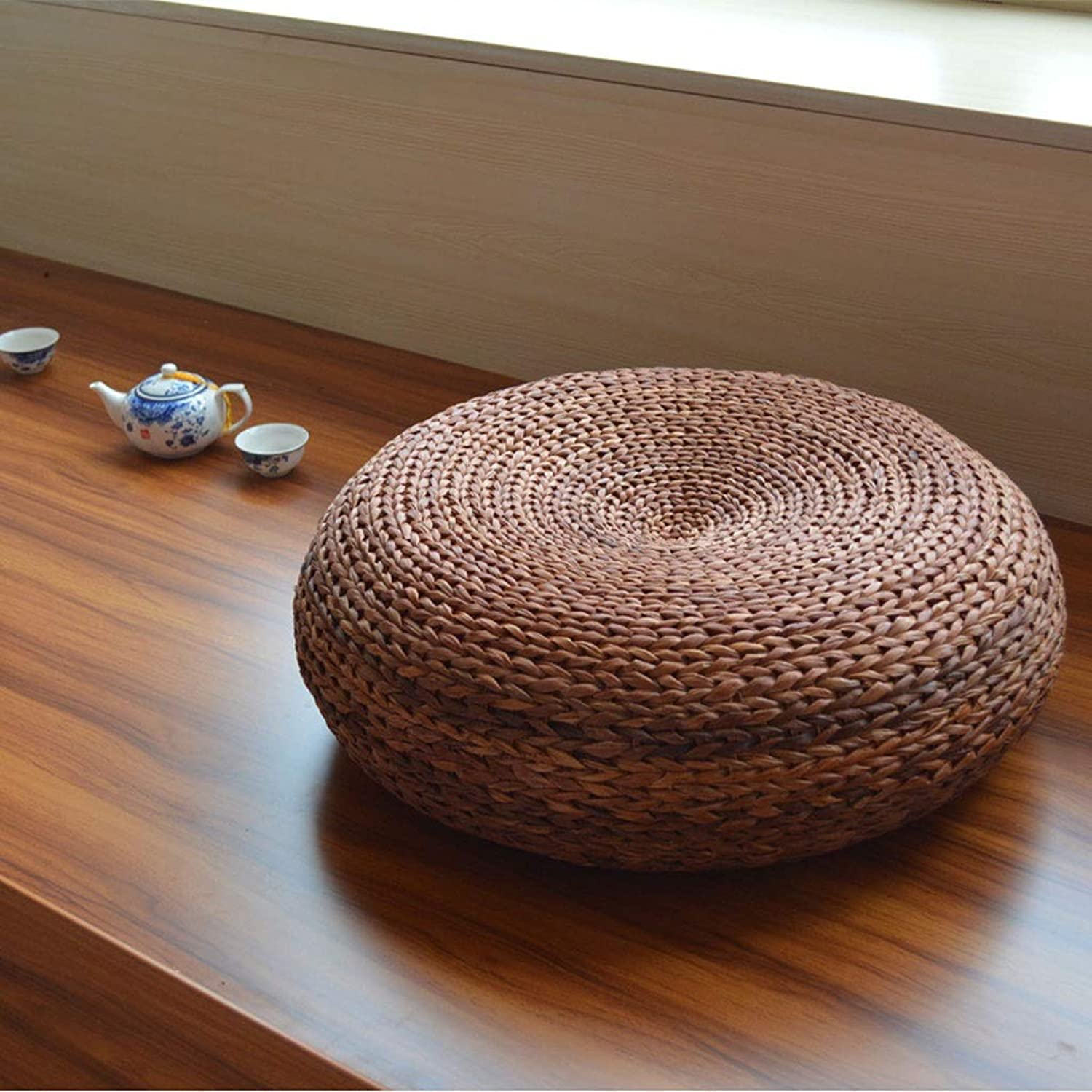 RXY-Wicker chair Japanese Style Straw Futon Cushion, Home Thickening Tea Ceremony Rattan Tatami Mat Floor Grass Mat (color   A, Size   40x17cm)
