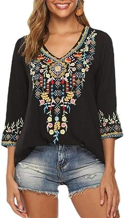 H&E Blusa de Mujer con Bordado Mexicano Bohemio
