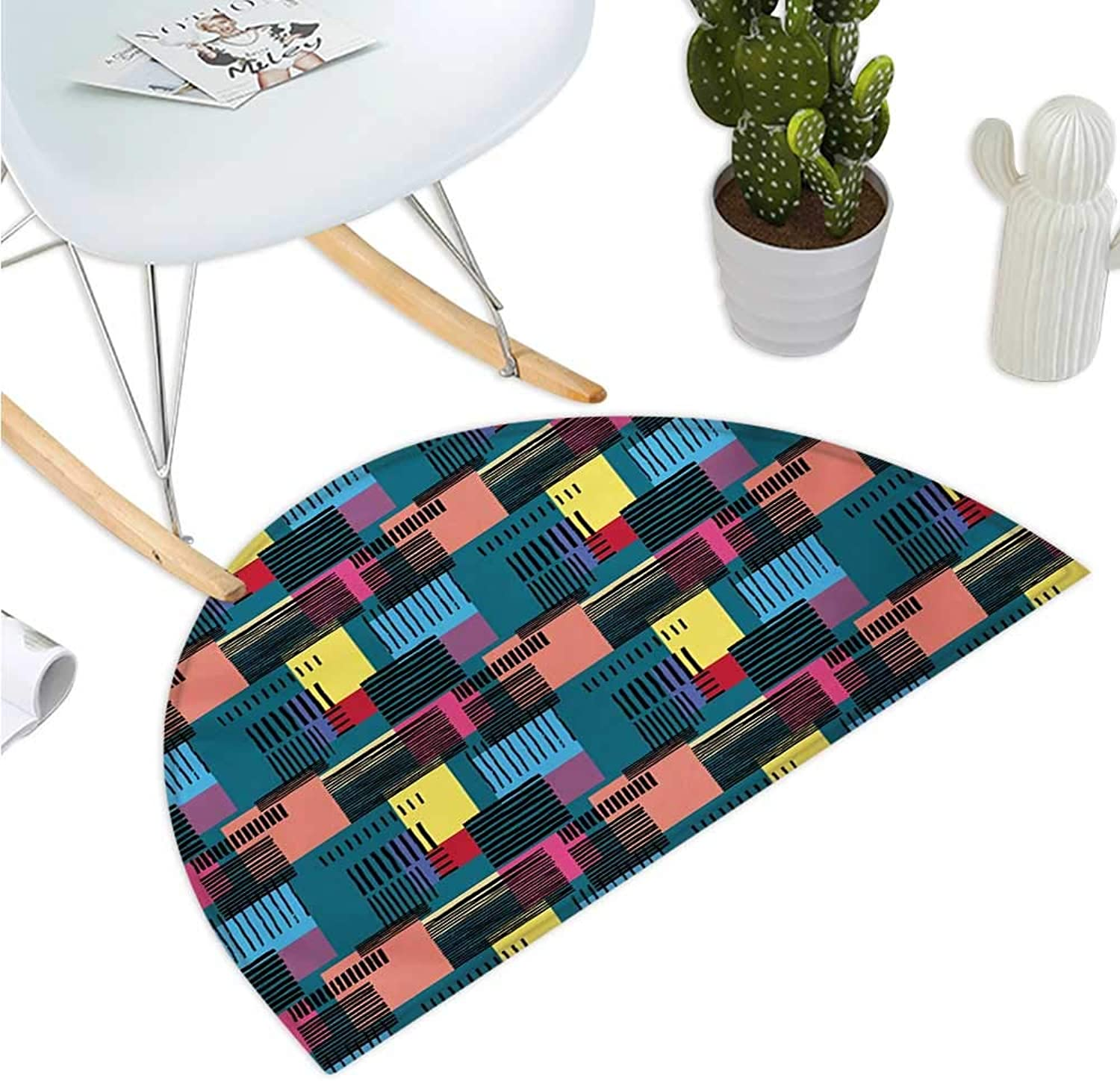 Retro Semicircle Doormat Hand Drawn Vintage Composition of Geometric Shapes Squares Rectangles and Stripes Halfmoon doormats H 35.4  xD 53.1  Multicolor