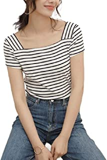 Howely Womens Pinstripe Square Collar Short Sleeve Tops Fine Cotton T-Shirts