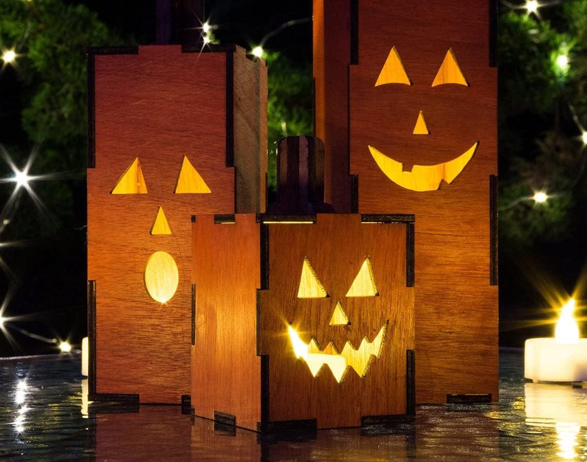 Light-Up Jack O Lanterns - Set of Excellent Flicker L 3 Wood 70% OFF Outlet Pumpkins with