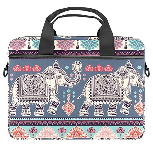 Indian Style Ornament with Elephants and Paisleys Laptop Bag The Laptop Briefcase Shoulder Messenger Bag Case Sleeve