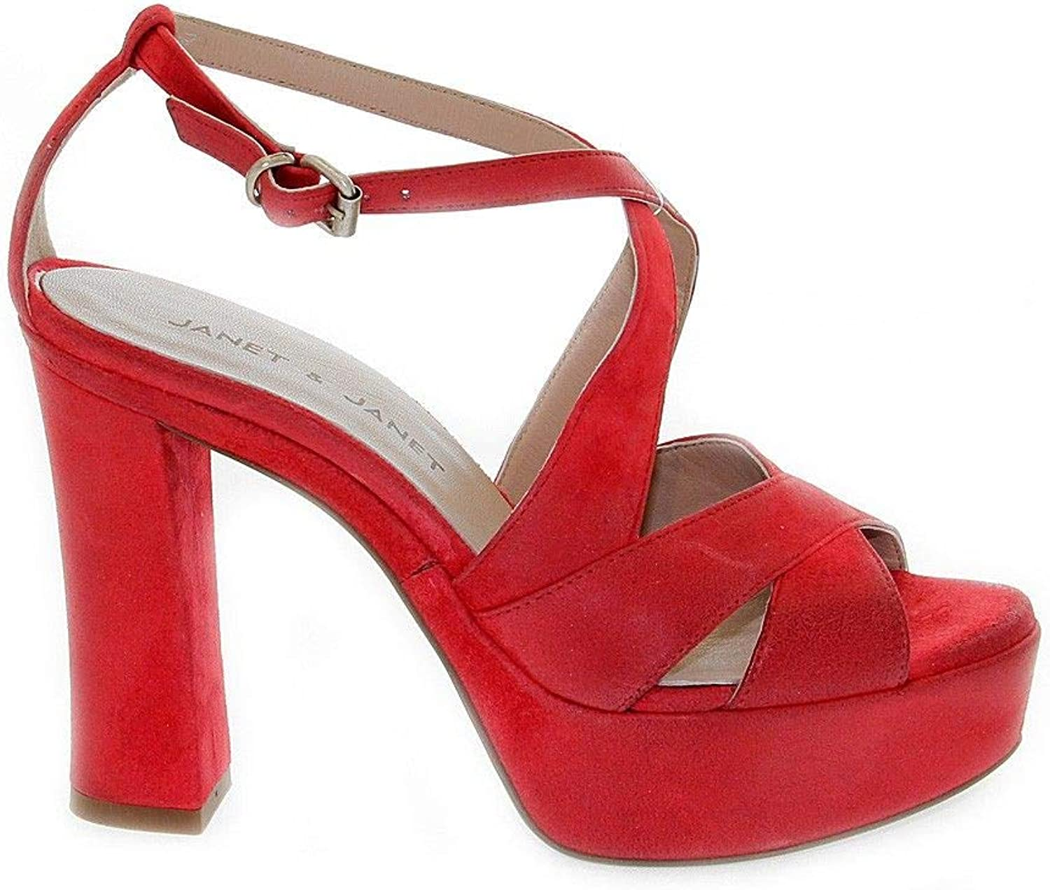 JANET&JANET Women's 33500 Red Leather Sandals