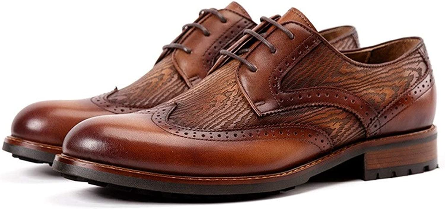 Mens shoes Handmade Men's shoes Spring New shoes Men's Business Dress Men's shoes Oxford Dress shoes (color   Brown, Size   6.5UK)