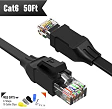 Cat 6 Ethernet Cable (at a Cat5e Price but Higher Bandwidth) Flat Internet Network Cable - Cat6 Ethernet Patch Cable Short - Computer LAN Cable with Snagless RJ45 Connectors Support 1Gbps 250Mhz black 50ft Black 50ft black