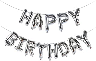 Happy Birthday Balloons Banner,16 Inch Foil Letter Balloons Banner for Birthday Party (Silver)