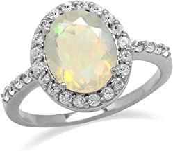 Silvershake 10X8mm Genuine Oval Shape Opal and White Topaz 925 Sterling Silver Glamorous Ring