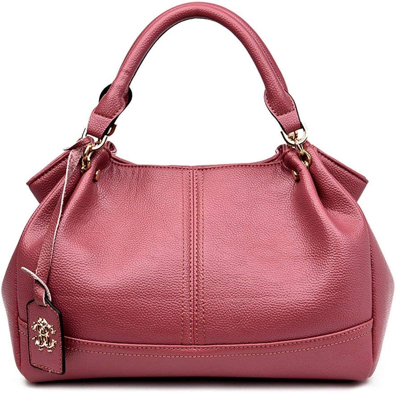 Huasen Evening Bag Lady's Soft Leather Leather Bag with Single Shoulder Bag Party Handbag (color   Pink, Size   32X21X16CM)