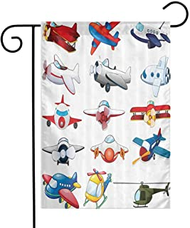 Airplane Decor Collection Garden Flag Different Kind of Planes Toys Amusement Automated Childhood Cartoon Machine Image Decorative Flags for Garden Yard Lawn W12 x L18 Red Blue White