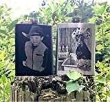 Custom Photo engraved Flask, Stainless steel flask, Black Flask, 8 oz picture flask