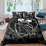 Funda de edredón tamaño King, diseño de calavera, diseño de pareja con esqueleto, juego de cama de 3 piezas con 2 fundas de almohada, color gris y blanco