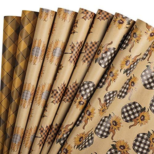 RUSPEPA Einwickeln Von Papierblättern Kraftpapier - Orange Plaid Autumn Design - 44,5 X 76 cm Jedes Blatt, Insgesamt 8 Blätter, Verpackt In 1 Rolle