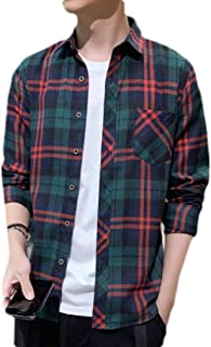 Yeirui Mens Long Sleeve Plaid Casual Slim Fit Button Down Shirts with Pockets