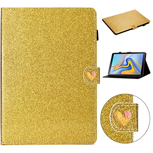 GLXC AYDD For Samsung Galaxy Tab A 10.5 T590 Love Buckle Glitter Horizontal Flip Leather Case with Holder & Card Slots (Color : Gold)