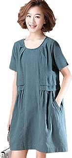 Women's Short Sleeve Dresses Casual Loose Crew Neck Plain Folds Dresses Simple (Color : Green, Size : XXXXL)